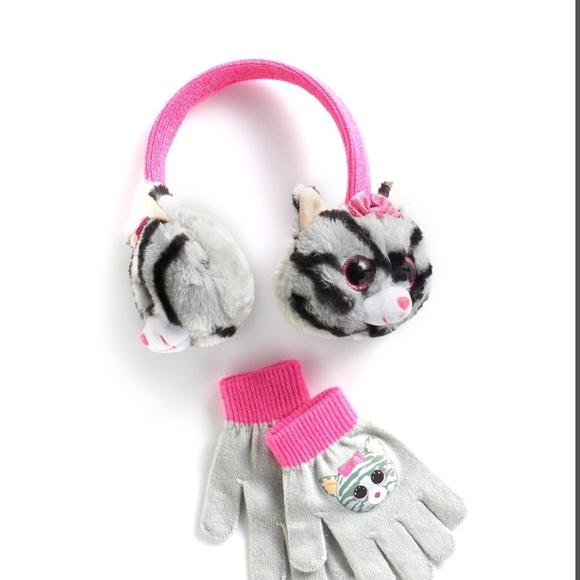 5a668a762fd Girls 4-16 Beanie Boos 3D Plush Earmuffs   Gloves